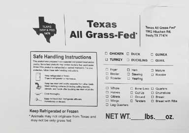 close-up of Texas All Grass-Fed label