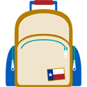 An icon of a backpack for disaster preparedness.