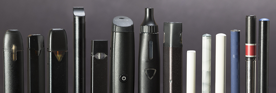 A row of different electronic cigarettes