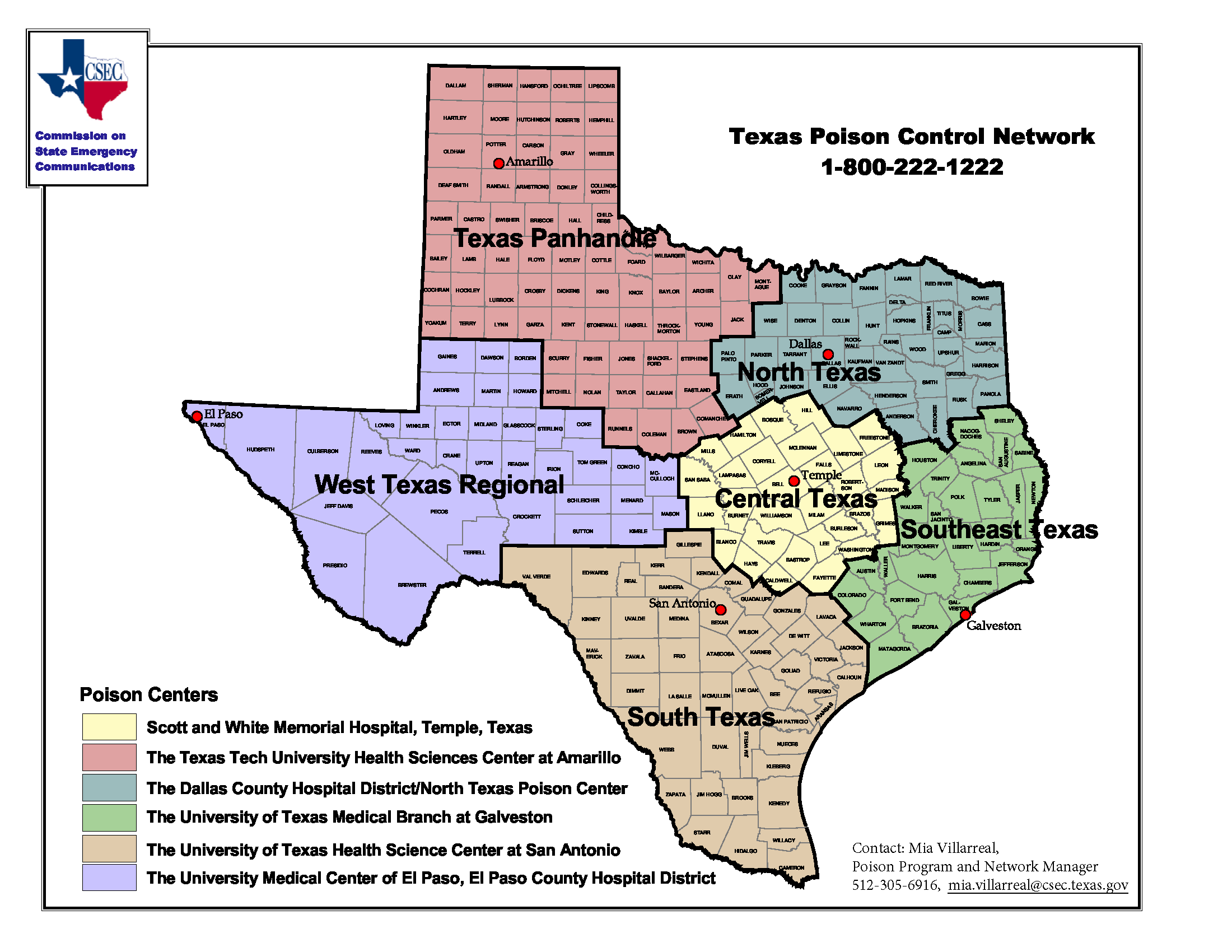 Texas Poison Center Map