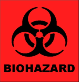 Black biohazard symbol on red background with BIHOAZARD label