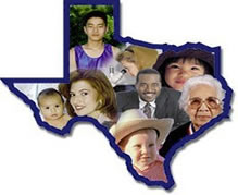 Texas Map with images of the People of the State of Texas that we serve.